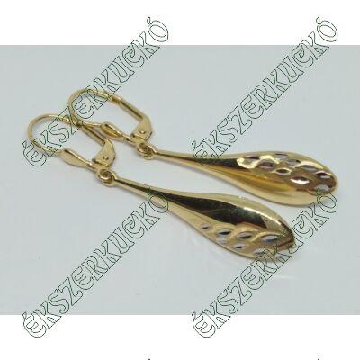 Sárga arany vésett lógós fülbevaló