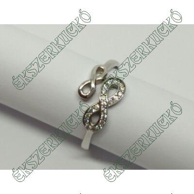 Fehér arany cirkónia köves végtelen jeles gyűrű