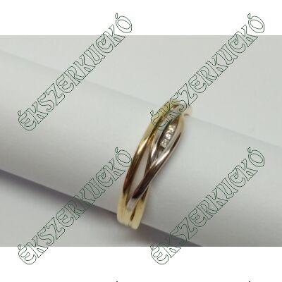 Sárga-fehér arany cirkónia köves gyűrű