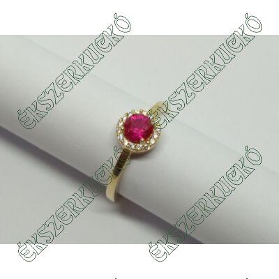 Sárga arany fehér-bordó cirkónia köves gyűrű