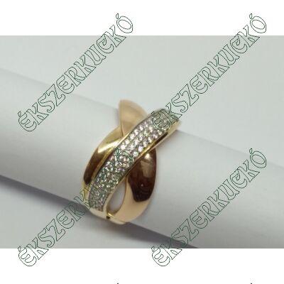 Sárga-vörös-fehér arany cirkónia köves gyűrű
