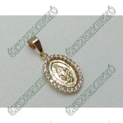 Sárga arany cirkónia köves Szűz Mária medál