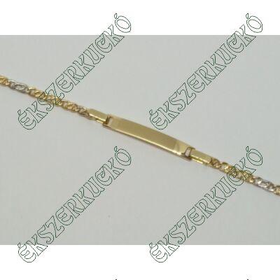 Sárga-fehér arany bébi lapbetétes karkötő