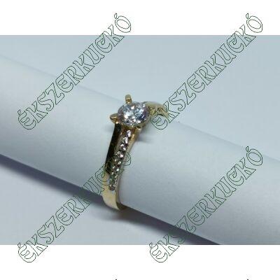 Sárga arany cirkónia köves szoliter gyűrű
