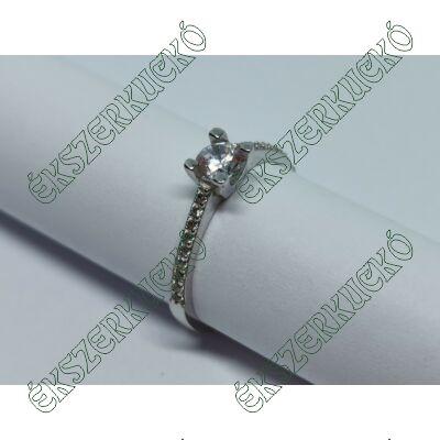 Fehér arany cirkónia köves szoliter gyűrű